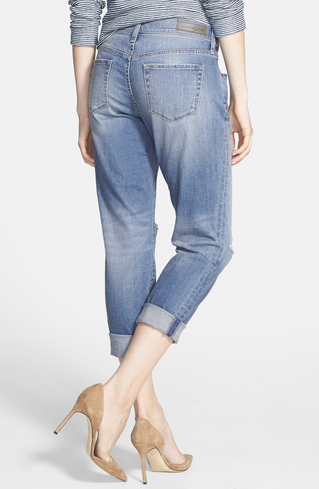 Alternate Image 2  - Treasure&Bond Denim Boyfriend Jeans (Light Vintage Wash)