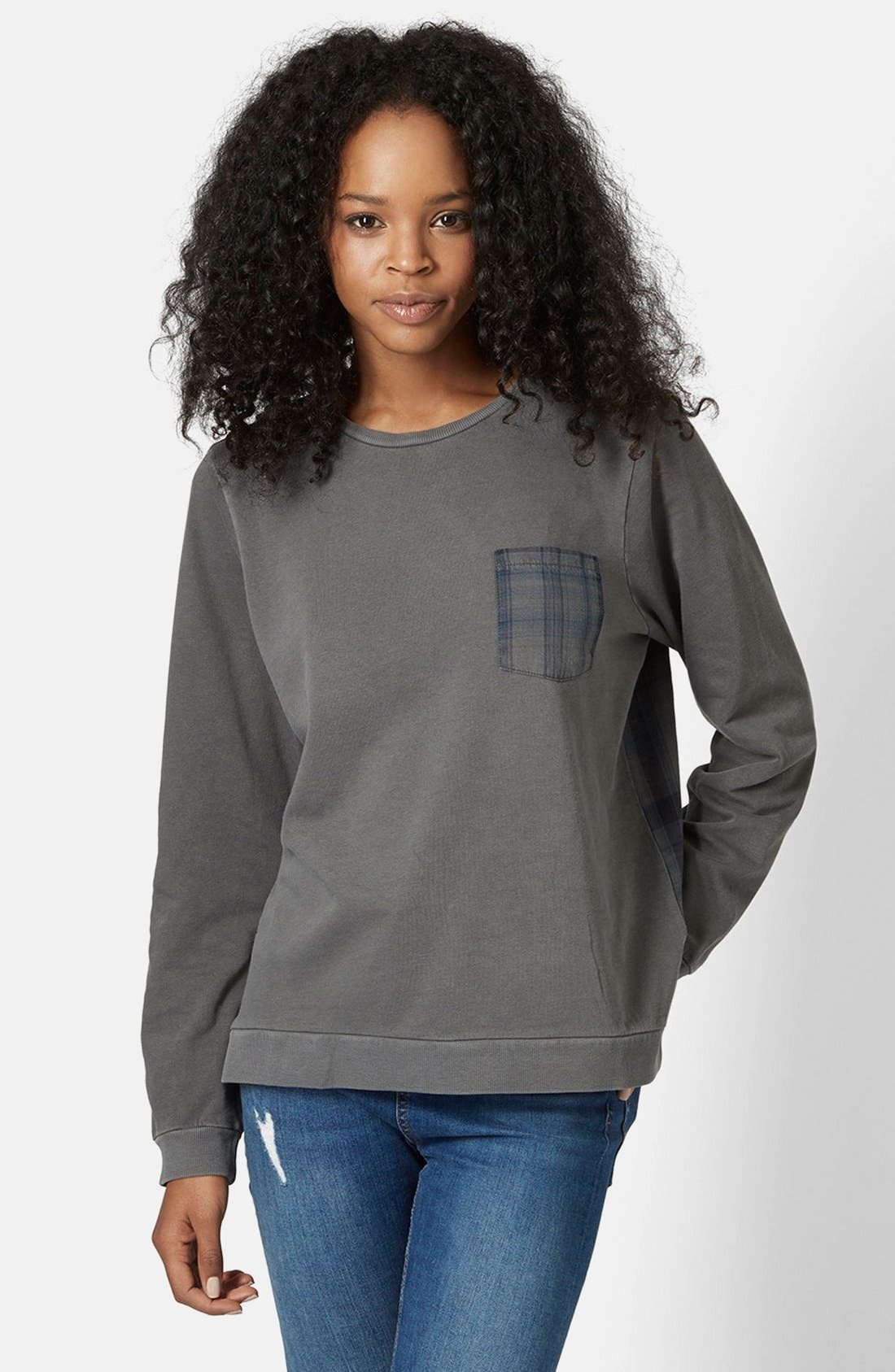 Main Image - Topshop Check Contrast Sweater