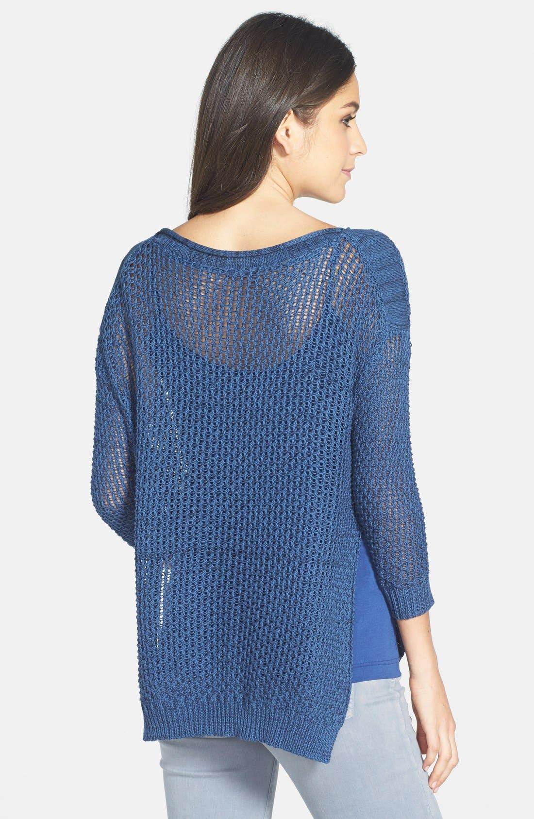 Alternate Image 2  - Dex High/Low Hem Open Stitch Sweater
