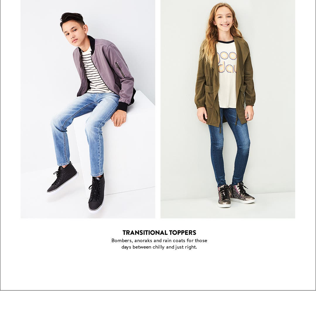 Transitional toppers. Kids' bomber jackets, anoraks, raincoats and more.