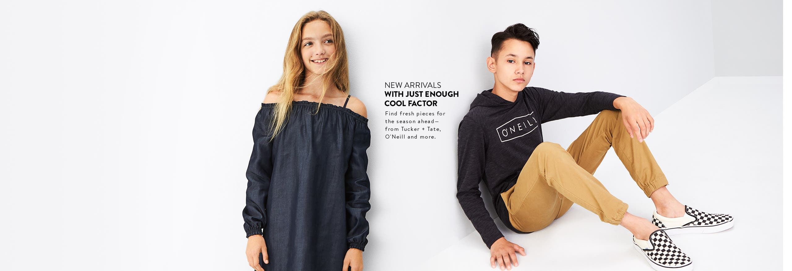 New clothing for girls and boys with just enough cool factor. From Tucker + Tate, O'Neill and more.