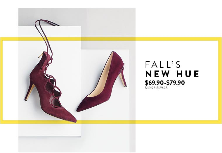 Anniversary Sale: heels in burgundy, fall's new hue.