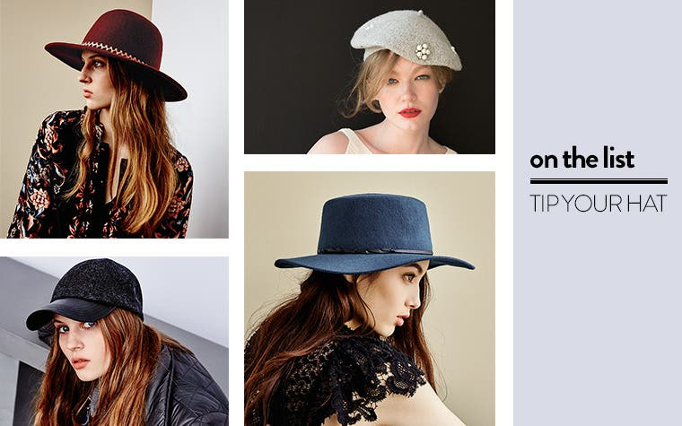 On the list: tip your hat. Shop boaters, berets, fedoras, panama hats, baseball caps and more.