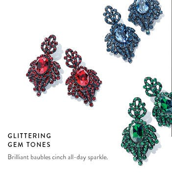 Glittering gem-tone statement jewelry.