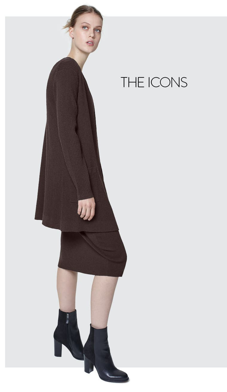 Eileen Fisher clothes for women: pencil skirt, layering tank and long cardigan.