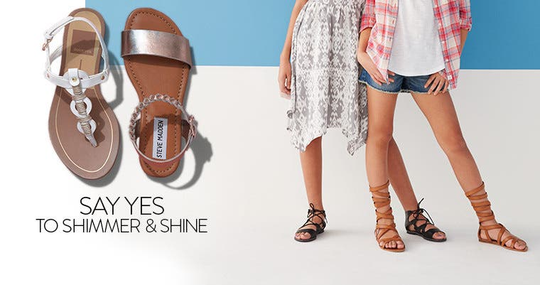 Say yes to shimmery, shiny sandals.