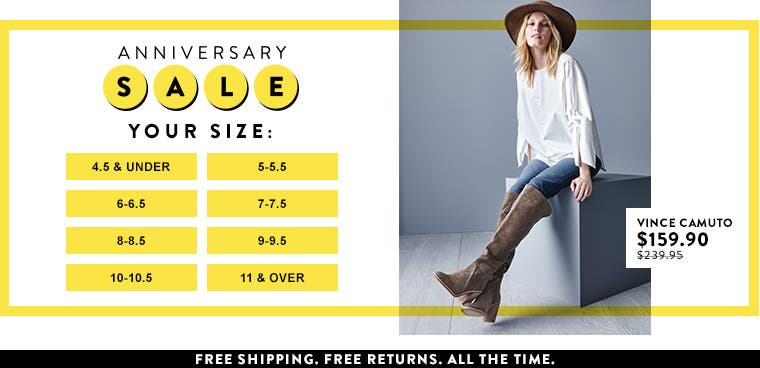 Anniversary Sale shoes: shop by your size.