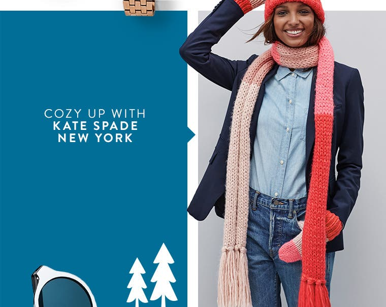 Cozy up with kate spade new york winter accessories.