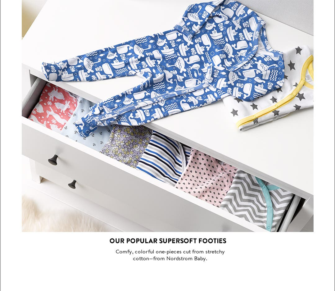 Newborn baby footies and other essentials, including supersoft cotton one-pieces from Nordstrom Baby.