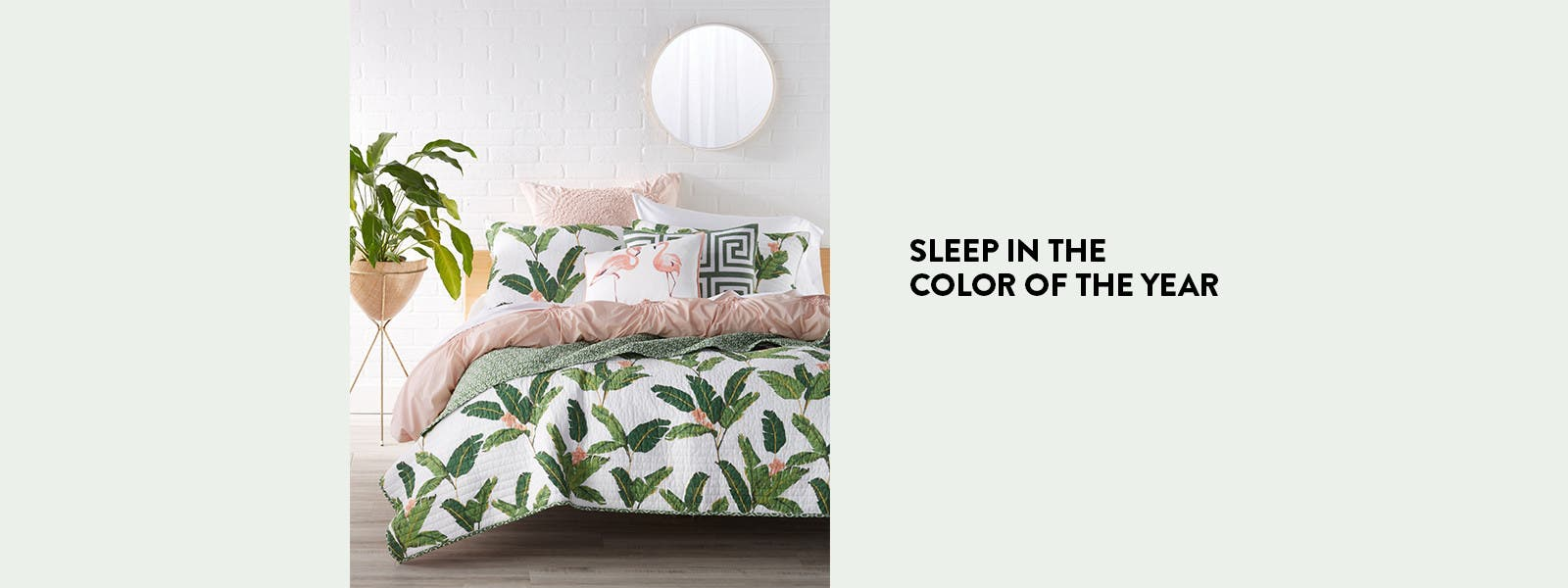 Sleep in the color of the year with green bedding.