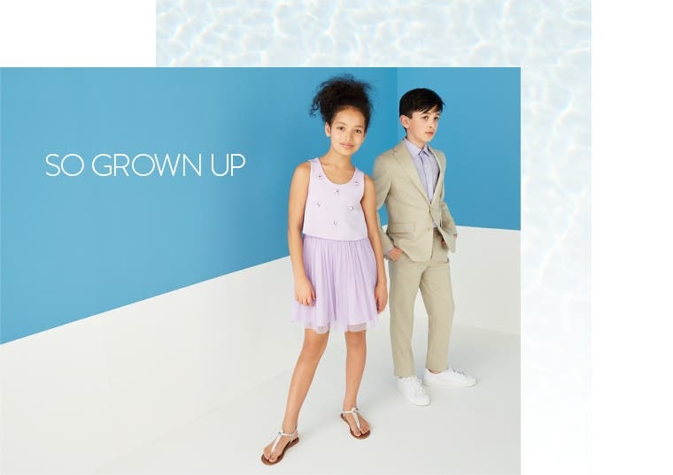 So grown up. Boys' and girls' special occasion wear.