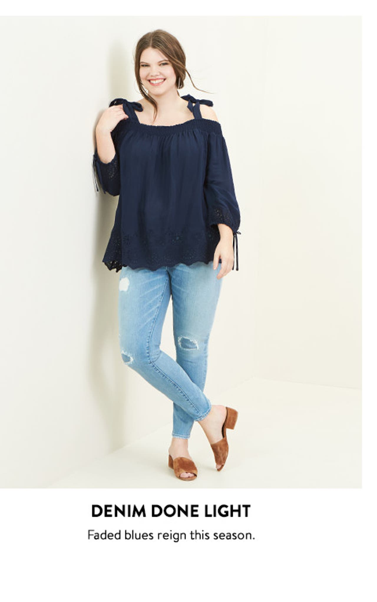 Plus-size denim done light.