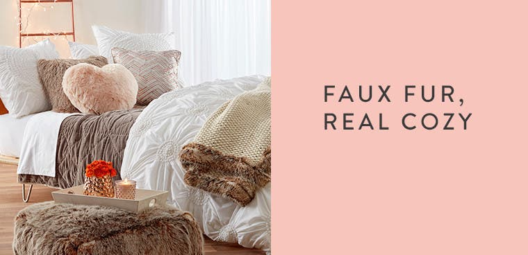 Faux fur bedding accents.