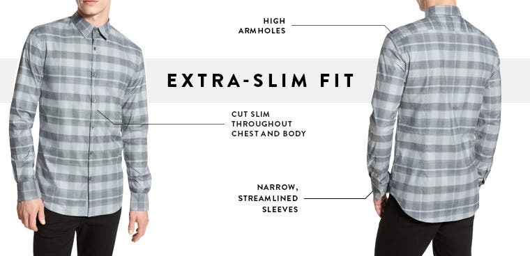 Men's extra-slim fit dress shirts.