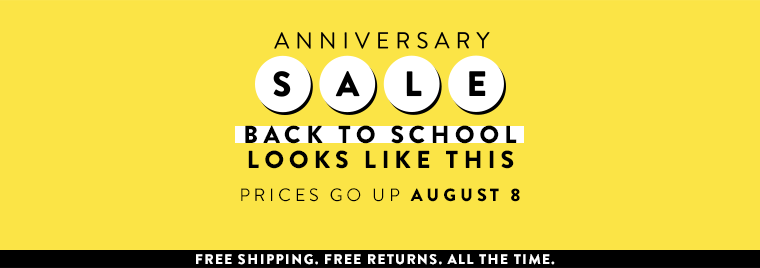 Anniversary Sale for kids: Back to school looks like this. Prices go up August 8.