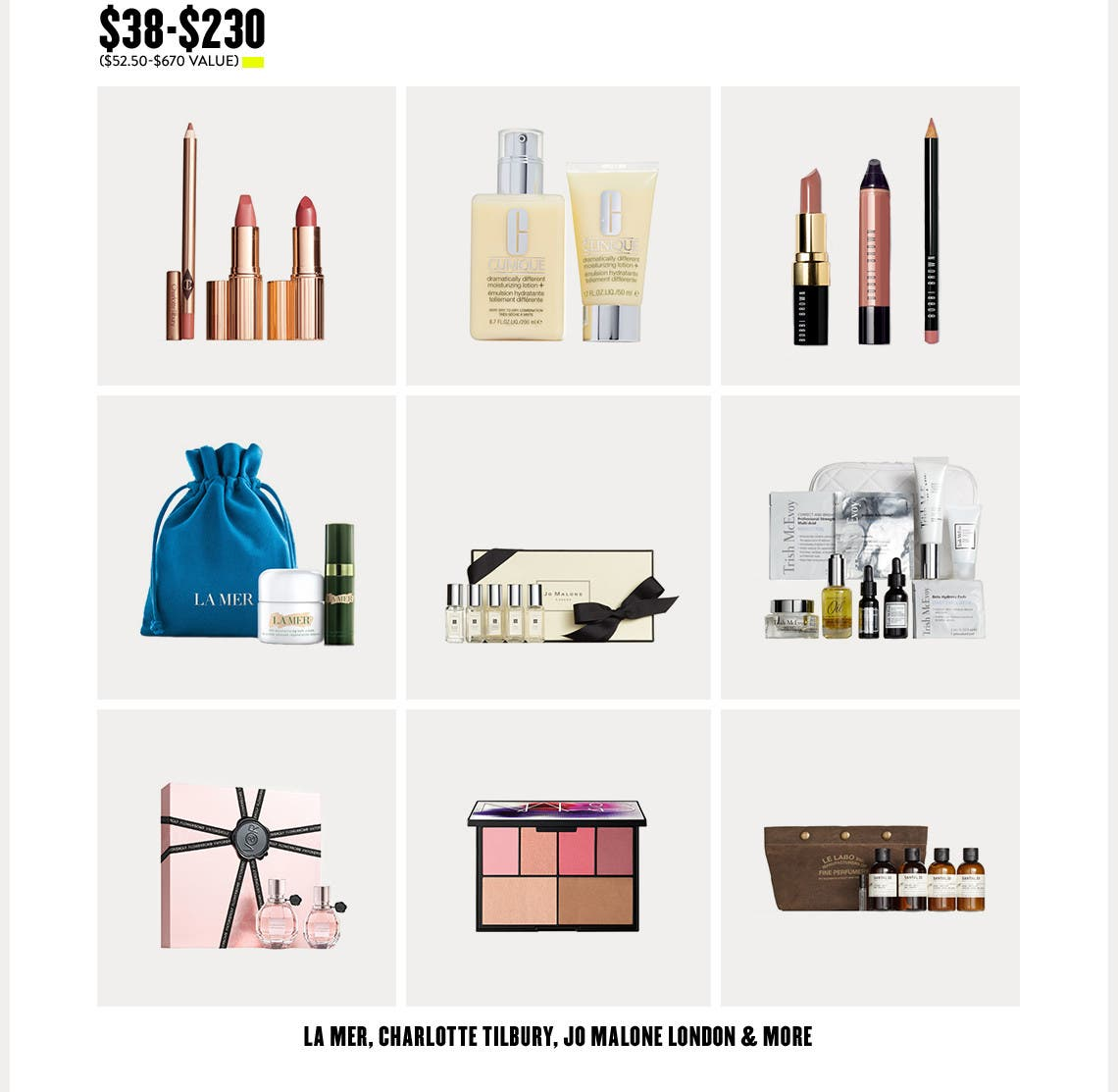 La Mer, Charlotte Tilbury, Jo Malone London and more.