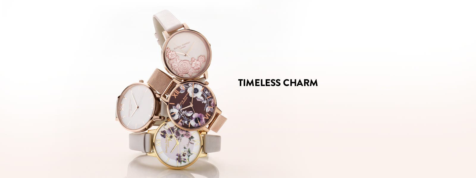Timeless charm with Olivia Burton watches.