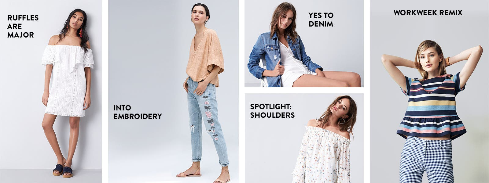 The ruffle trend is major. / Yes to denim jackets. / Spotlight on off-the-shoulder tops. / Into embroidered jeans. / The workweek remix.