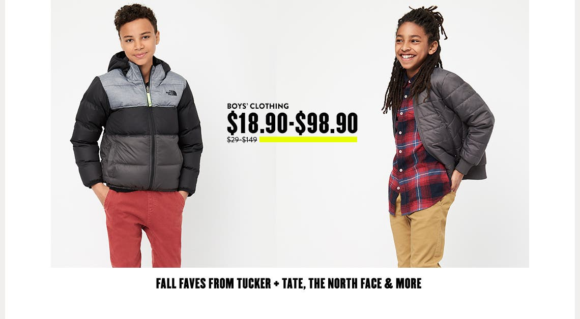Fall faves for boys from Tucker + Tate, The North Face and more.