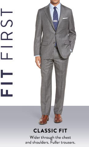 Classic fit. Wider through the chest and shoulders. Fuller trousers.