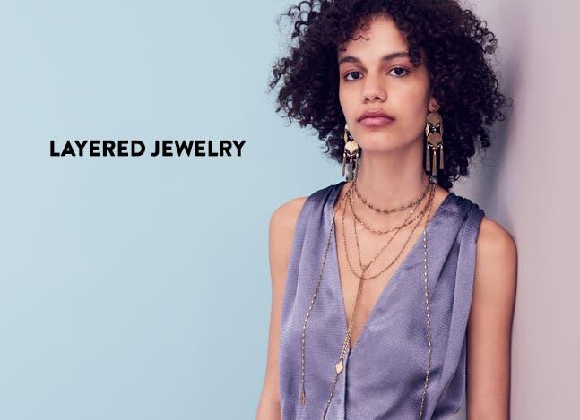 Layered jewelry.