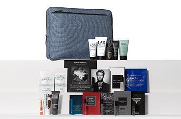 Receive a free 20-piece bonus gift with your $85 Men's Grooming or Cologne purchase