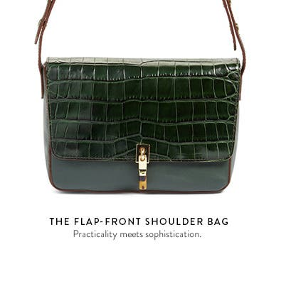 Flap-front shoulder bags.