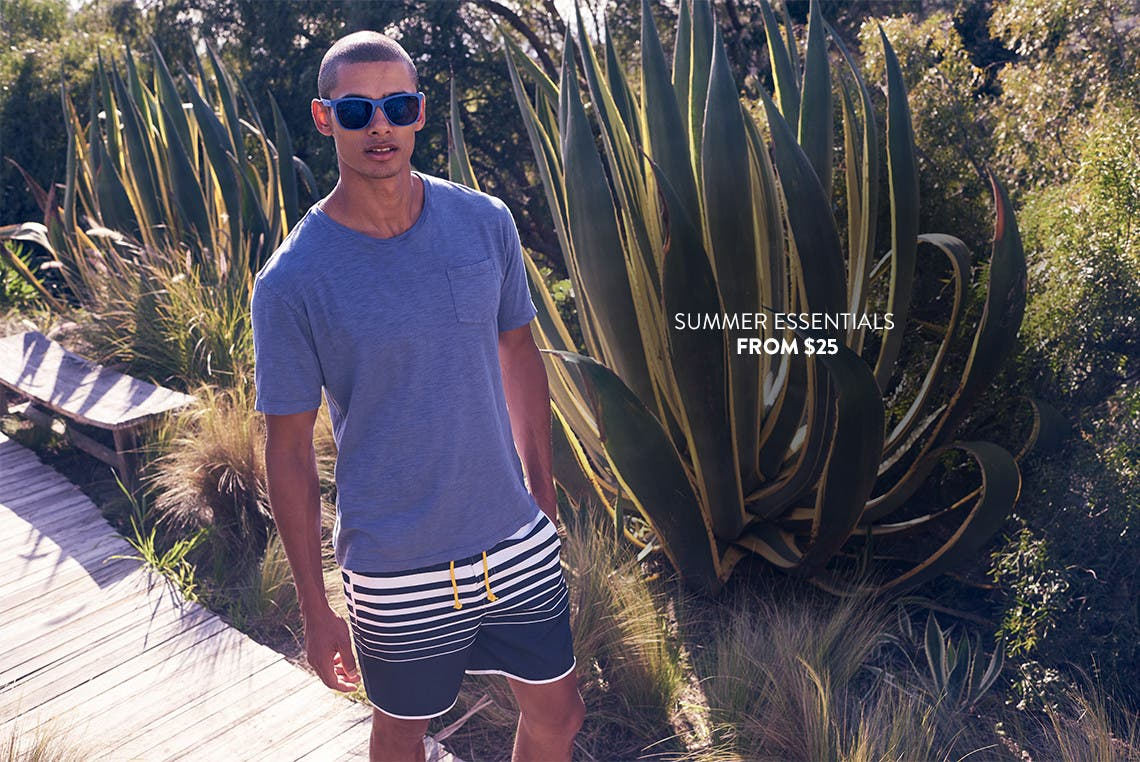 Men's summer essentials from $25.