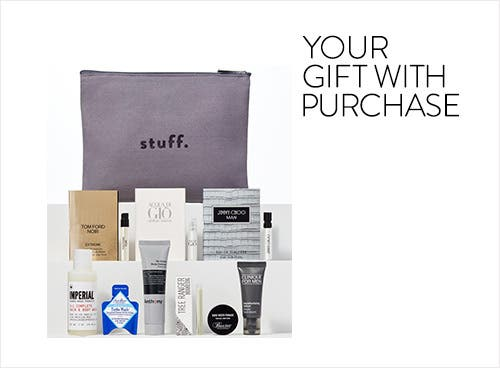 Men's grooming and cologne gift with purchase.
