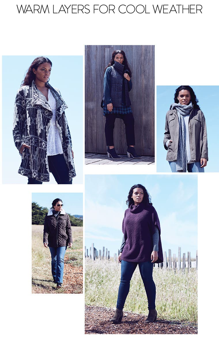 Warm plus-size layers for cool weather.