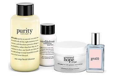 Receive a free 4-piece bonus gift with your $60 Philosophy purchase
