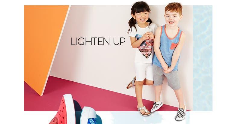 Lighten up in kids' summer clothing.