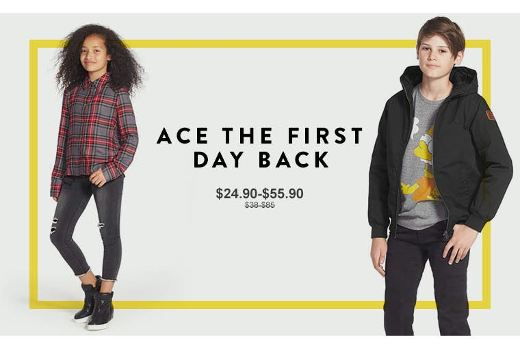Ace the first day back. Anniversary Sale kids' clothing.