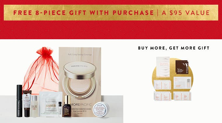Free beauty gift with $88 purchase. A $95 value. Plus, spend $25 more and get a bonus gift for a combined value of $133.