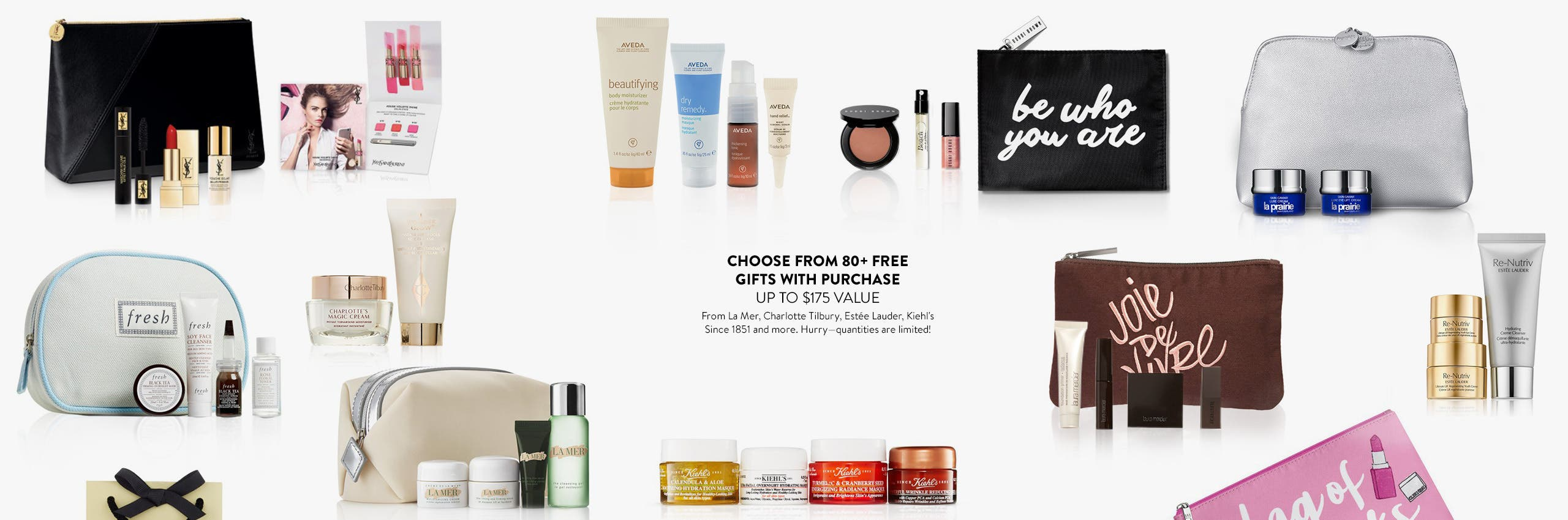 Choose from 80-plus beauty and fragrance gifts with purchase. Up to $175 value.