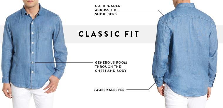 Men's classic fit dress shirts.