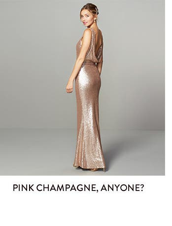 Bridesmaid dresses in pink champagne and more colors.