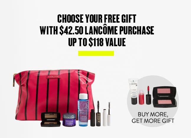 Choose your free gift with $42.50 Lancôme purchase. Up to $118 value. Buy more, get more gift.
