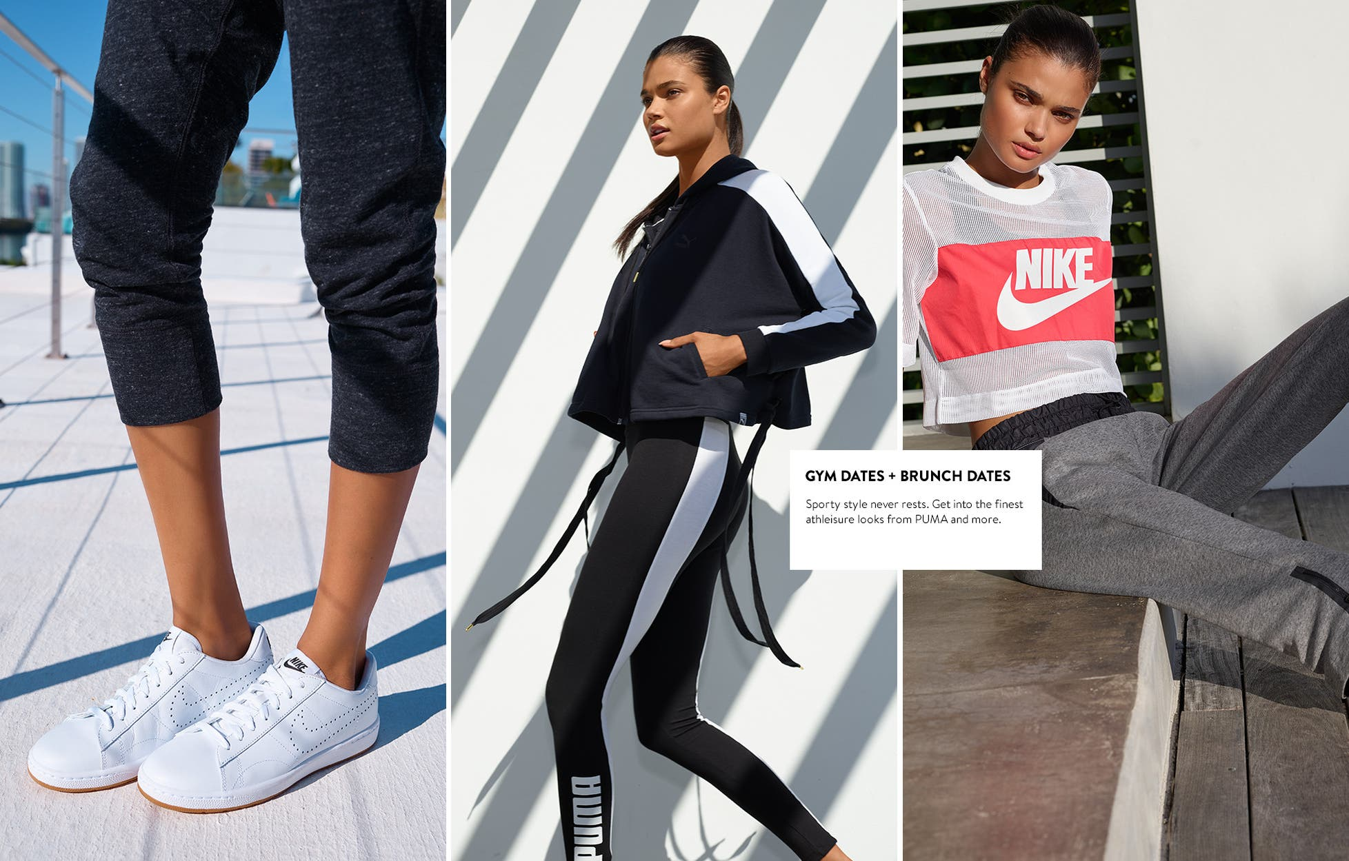 Gym dates and brunch dates: women's athleisure clothes and sneakers.
