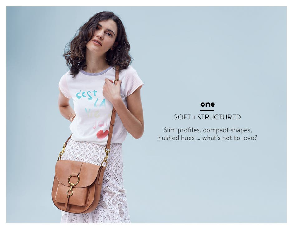 Soft and structured handbags with slim profiles, compact shapes and hushed hues.