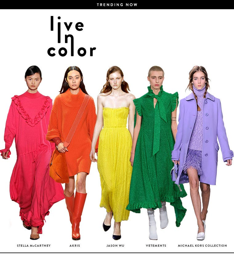 Live in color: women's designer clothing, shoes and accessories in bold colors.