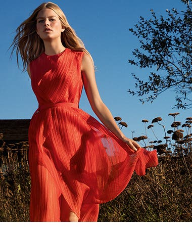hugo boss red leather dress