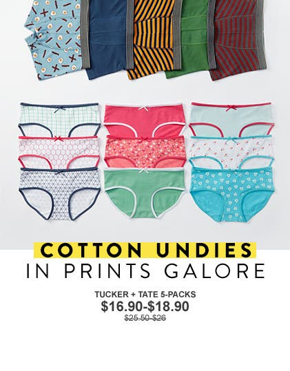 Anniversary Sale: cotton undies in prints galore, for boys and girls.