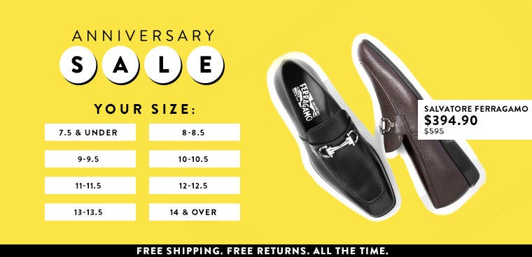 Anniversary Sale men's shoes from Salvatore Ferragamo.
