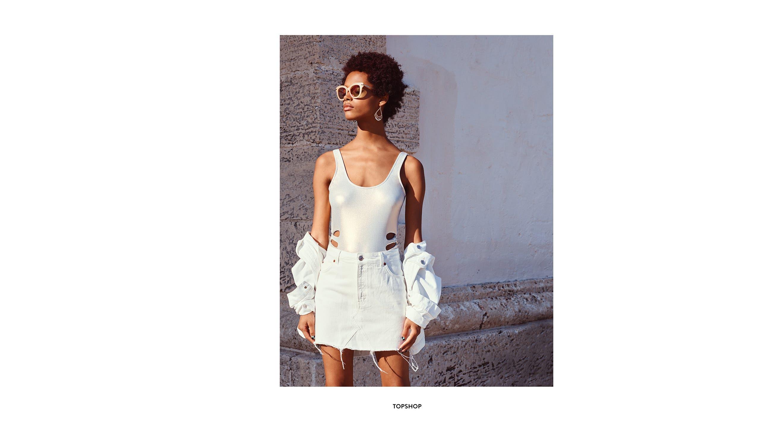 White denim skirts from Topshop.
