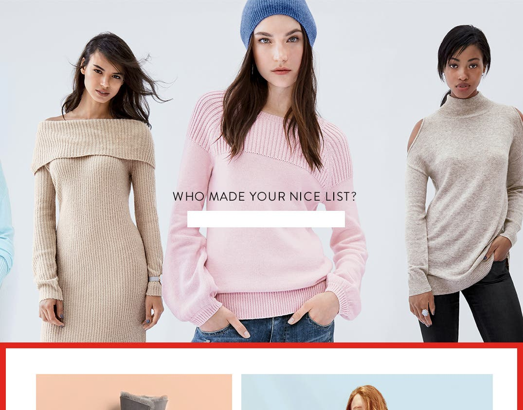 Who made your nice list? Women's sweater gifts for the season.