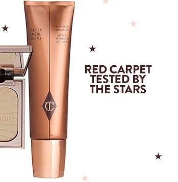 Red carpet tested by the stars: Charlotte Tilbury's Supermodel Body Slimmer Shimmer Shape, Hydrate & Glow.