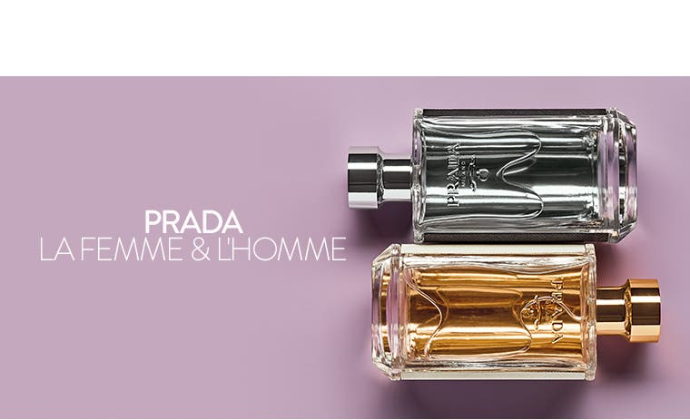 Prada La Femme and L'Homme fragrances.