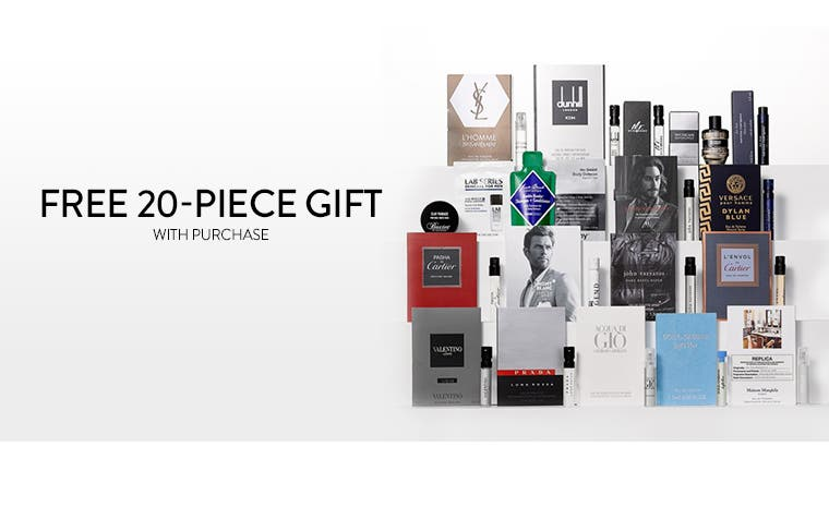 Free 20-piece gift with purchase - yours with any $85 grooming or cologne purchase.