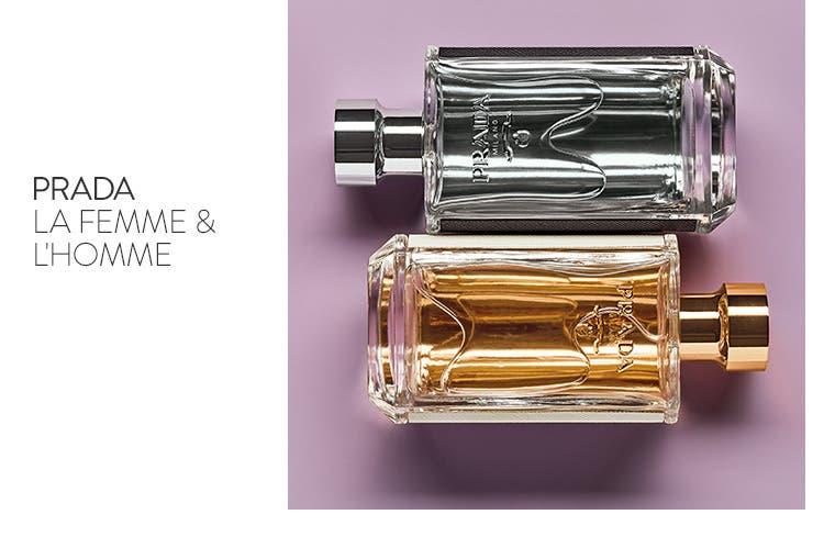Prada La Femme and L'Homme fragrances.